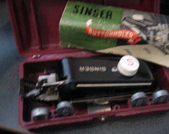 Vintage Singer Buttonholer #160743 Attachment With Templates, Case and Manual