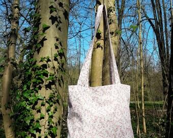 tote bag / grey/pink floral cotton tote bag