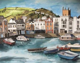 Original Dartmouth, Devon Watercolour & Ink Painting  Large Unframed