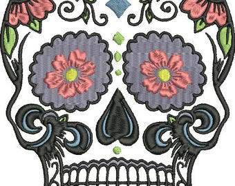 Sugar Skull  No 3 Digitized Machine Embroidery Design  Halloween