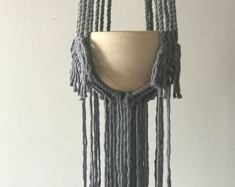 Gray Fringe Hanging Macrame Planter