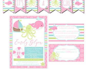 Print At Home Pink Nautical Baby Shower Decorations Package Banner, Games, Diaper Raffle, Cupcake Toppers, Water Labels and More CPP003