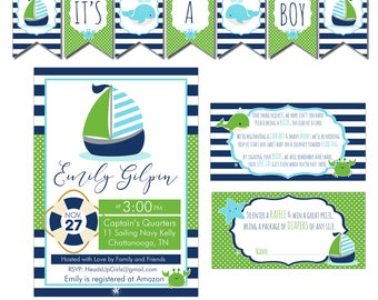 Digital Navy, Aqua and Green Nautical Baby Shower Decorations Package Banner, Games, Diaper Raffle, Cupcake Toppers, Water Labels CPP011