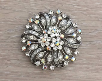 Rhinestone Brooch, Flower Brooch, Bridal Brooch