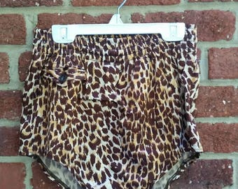 Vintage 1950s Mens Leopard Print Swim Trunks // Retro High Waist Swimsuit // Tarzan