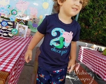Peppa George Birthday Custom Tee Shirt - Customizable -  Infant to Youth 141a