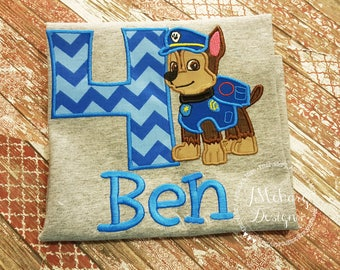 Paw Patrol Custom Shirt or Birthday Custom Tee Shirt - Customizable 73 chase