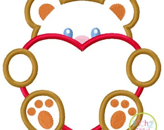 Valentines Peeker - Boy Bear with Heart - custom Valentine shirt 1