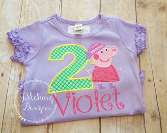 Pirate Peppa Pig Birthday Custom Tee Shirt - Customizable -  Infant to Youth 188b