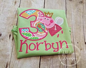 Peppa Pig Fairy Birthday Custom Tee Shirt - Customizable -  Infant to Youth 297 lime