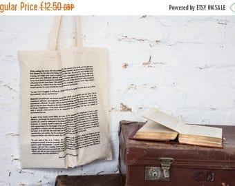SALE Pride And Prejudice Cotton Tote Bag - Book Page Print - Mr Darcy Proposal - Jane Austen Quote - Cotton Book Bag - Gift for Book Lover