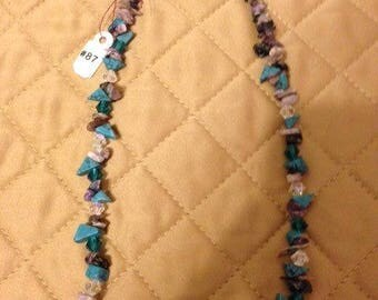 Turquoise and Purple stone and Crystal necklace