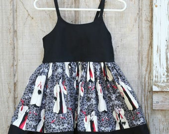 3T RTS Lil Cruella strappy sundress, Twirly 101 Dalmatian Inspired, Dress Up, Every Day Play Wear, Handmade,Dalmatian birthday