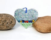 Fused Glass Heart Ornament, Fused Glass Heart Suncatcher