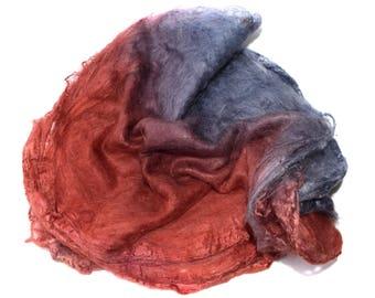 SILK HANKIES - Hand dyed - Mawata squares - Mulberry silk - 10g - rust - grey