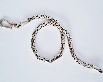Sterling Silver Bali Balinese Byzantine Woven Snake Chain Bracelet, Size Medium - Large, Fully Hallmarked! Excellent Condition