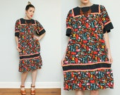 Animal Print Tent Dress // 80s Boho Tunic Dress // 90s Safari Muu Muu Bohemian Pocket Hipster Size Small Medium
