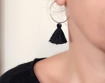 Black Tassel Hoop Earrings, Black Tassel Earrings, Tassel Earrings, Hoop Earrings, Circle, Black Earrings, Tassels, Fan Earrings, Fringe