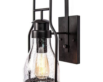 Rustic Wall Light Lantern With Retro Industrial Loft Look In Rubbed Bronze Powder Coat Finish