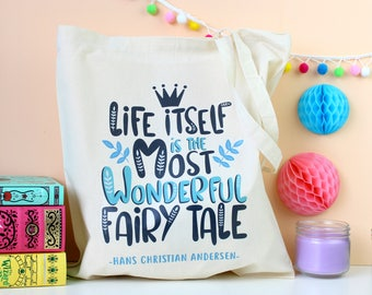 Fairy Tale Tote Bag. Hans Christian Andersen Tote Bag. Brothers Grimm. Fairy Tale Quote. Fairy Tales. Fairy Tale Bag. Sleeping Beauty. Books