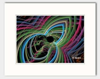 Red blue line  art, giclee print, fractal art, minimalist art, modern art, geometric art, abstract art, sacred geometry, computer geek gift
