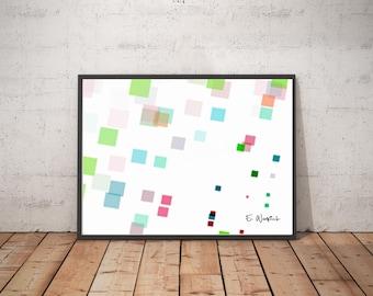 Pink blue abstract art, fractal art, square art, minimalist art, modern art, geometric art, abstract art,sacred geometry,computer geek gift