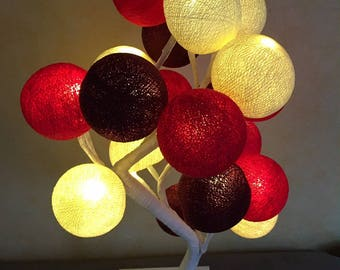 Tree lamp - table lamp - cotton ball
