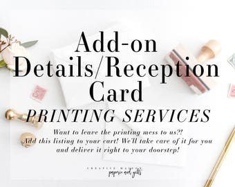 Add-On Details/Reception Card - Wedding Invitation Suite - Invitation Printing Service