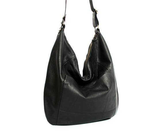 Black leather hobo bag leather purse women bags SALE black