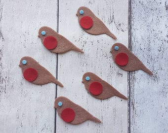 Felt Robins, Die cut robin, Christmas robin, felt bids shapes, Christmas shapes, Christmas Craft, die cut felt, Christmas decor, card making