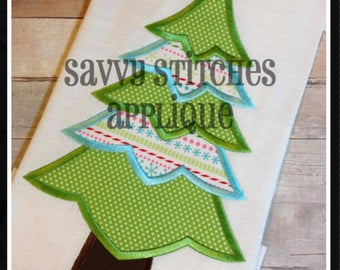 Layered Christmas Tree Machine Embroidery Appliqué Design