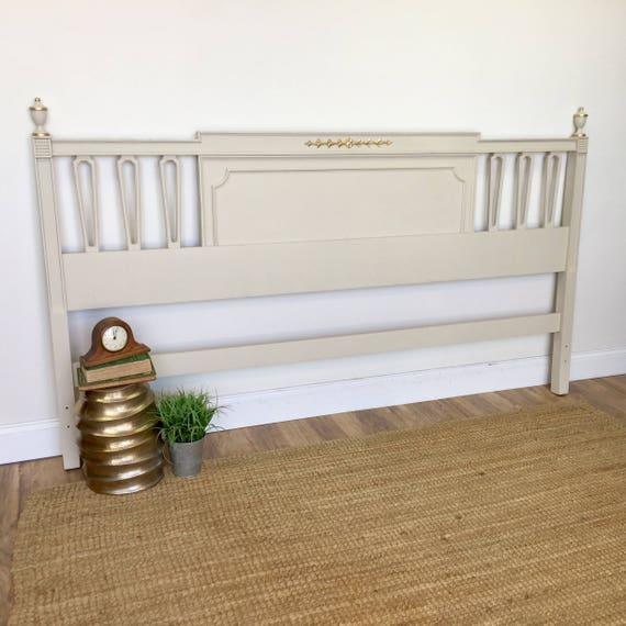 King Size Bed Headboard - Recency Style - Vintage Bedroom Furniture - Shabby Chic Headboard - White King Headboard - Distressed Furniture