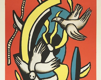 """Fernand Leger Lithograph """"Le oiseaux"""" size 24.5 x 17.7 inch  -f"""