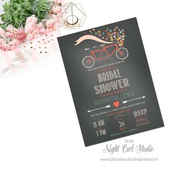 Bicycle bridal shower invitation tandem bicycle invitation il570xn filmwisefo