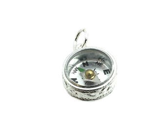 Sterling Silver Scroll Compass Fob Charm For Bracelets