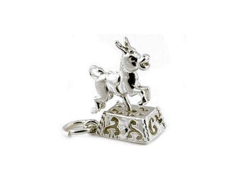 Sterling Silver Moving 6 Penny Donkey Ride Charm For Bracelets