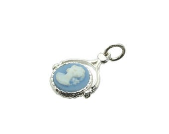 Sterling Silver Double Sided Cameo & Onyx Swivel Fob Charm For Bracelets