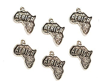 6 Antique Silver Africa Charms - 23-4