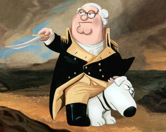 Family Guy Peter and Brian as George Washington and His Horse Poster Art Print