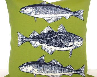 GREEN FISH Pillows Green Outdoor Pillow Covers Fish Navy Blue Outdoor pillow Covers 18x18 Fish Pillows North woods Pillows Green Pillows