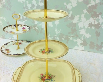 Cream 3 Tier Cake Stand with Gold Border