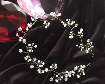 Hair Vine, Silver Bridal Hair Jewelry, Wedding/Prom Headpiece, Silver Hair Vine