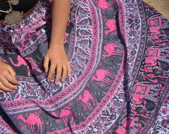 Circle skirt vintage Indian hippie maxi boho goddess elephants and camels handmade