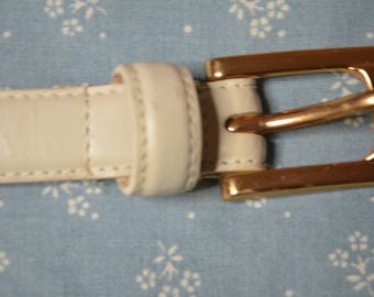 Genuine Bone Colored Leather Belt by Liz Claiborne in Size Large