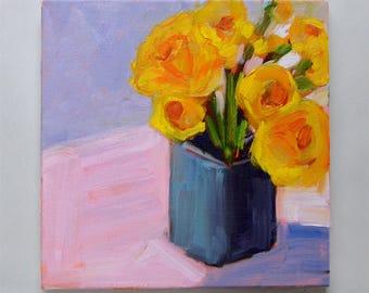 Floral Still life, Oil still life, Daffodil painting Modern Still life painting  Original still life,Contemporary still life painting,square