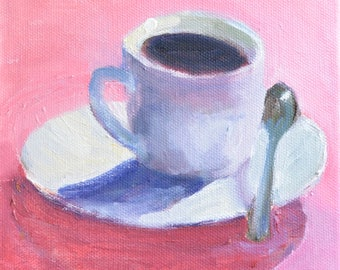 Pink kitchen decor Pink Christmas Kitchen art, Food art Coffee cup painting, Gift under 50 Gift for her Original modern oil painting