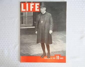 Near Mint - 4th Ever Issue 1936 Life Magazine, December 14, Archbishop of Canterbury - Nettie Rosenstein - Roosevelt