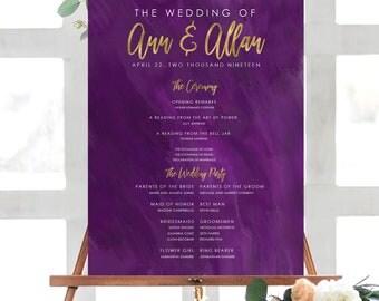 Watercolor Wedding Program Poster | Wedding Ceremony Poster| Printable Program | Printed Wedding Poster| Watercolor Program PURPLE 18020