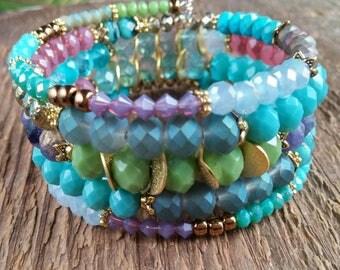 Wrap Bracelet, Bohemian Jewelry, Czech Bead Bracelet, Memory Bracelet, Beaded Bracelet, Boho Bracelet, Layering Bracelet