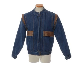 Vintage 70s Oui Denim and Leather Convertible Vest Jacket 1970s Indigo Blue Jean Rocker Hippie Boho Cafe Racer Bomber Jacket / Mens M